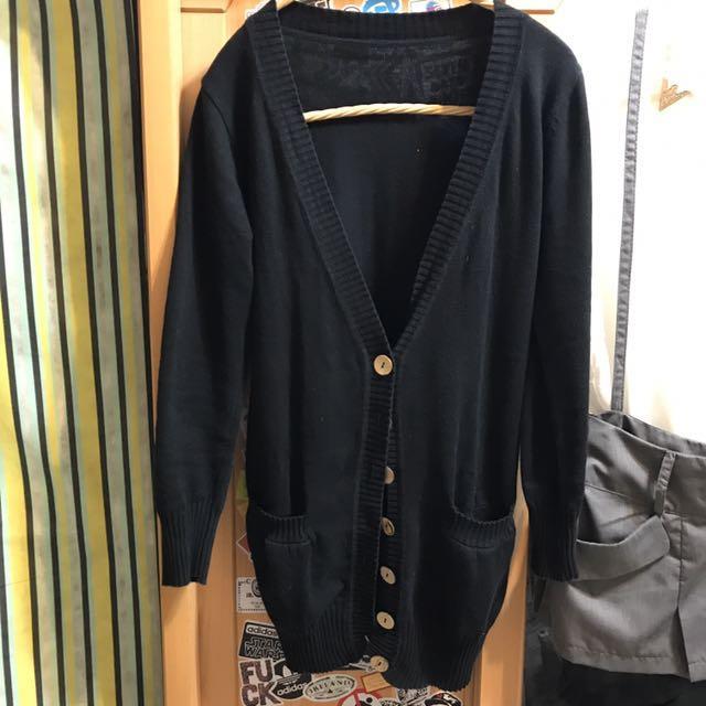 針織木釦長版外套