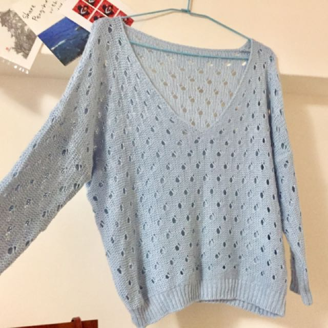 天空藍針織衫