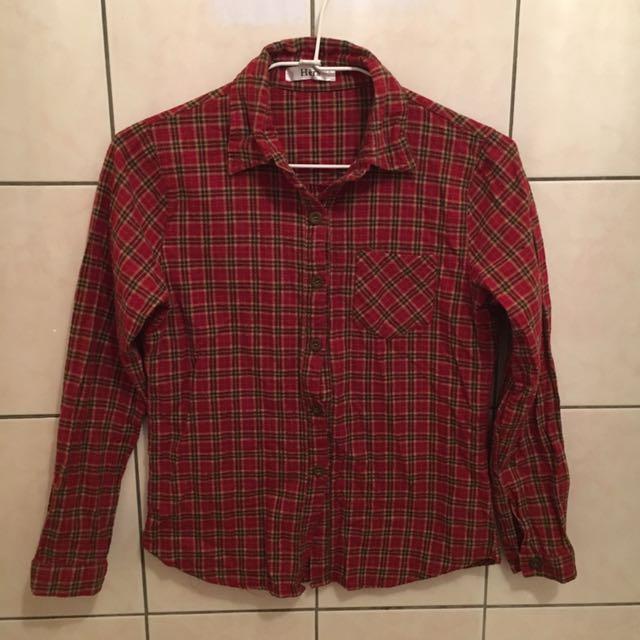 酒紅色格紋襯衫