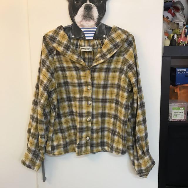 二手-露小鎖骨格子襯衫
