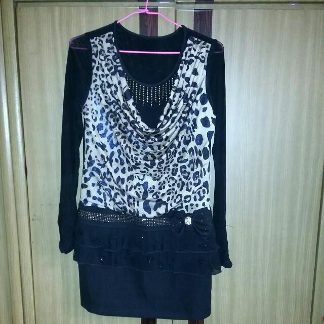垂墬感豹紋優質洋裝