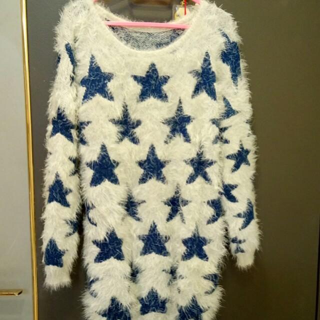 正韓深藍星星舒適感毛海毛衣 #冬季衣櫃出清