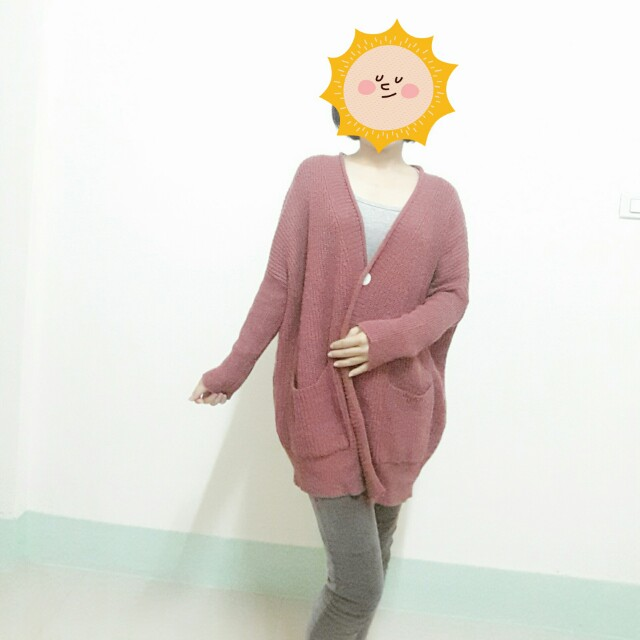 粉藕色粗針外套 #冬季衣櫃出清