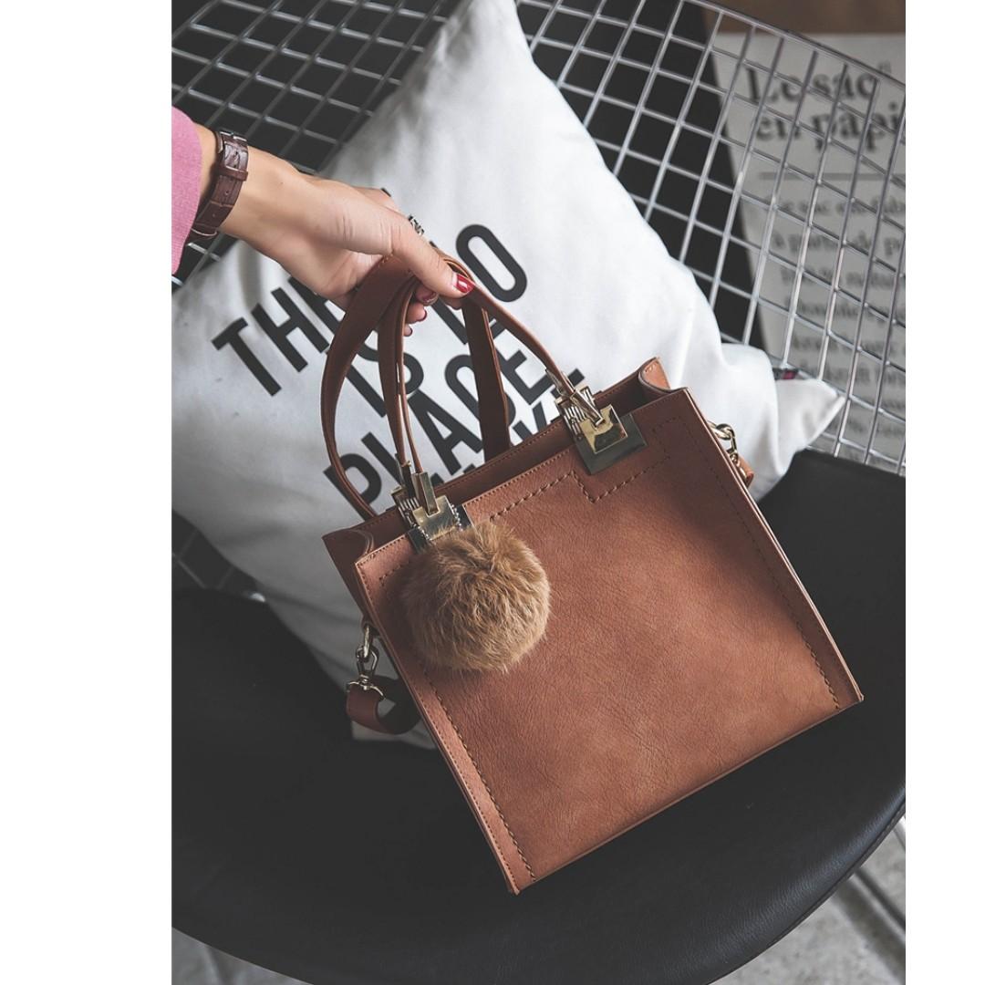 秋冬韓版時尚復古休閒小方包手提包單肩斜挎包小包-淺棕色