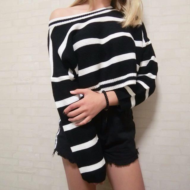 條紋短版粗針織毛衣