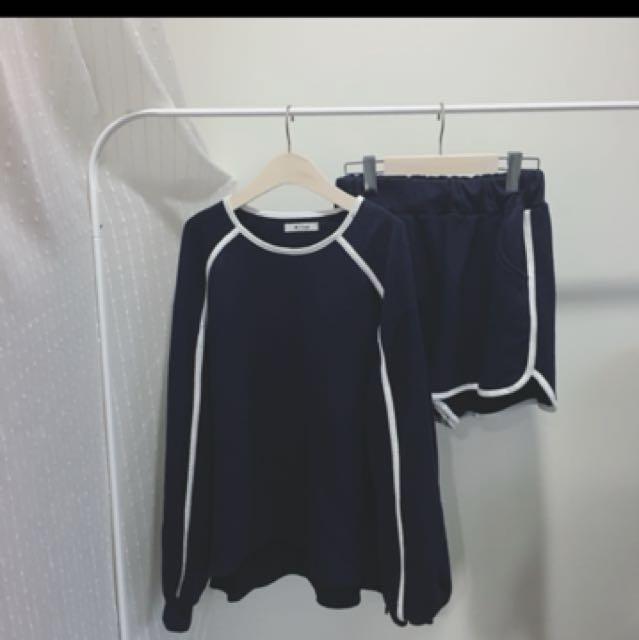 韓版 深藍白條運動套裝