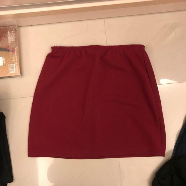酒紅 窄裙