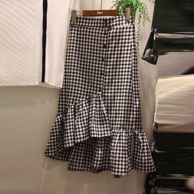 🔥全新🔥不對稱格子魚尾裙 #我的女裝可超取