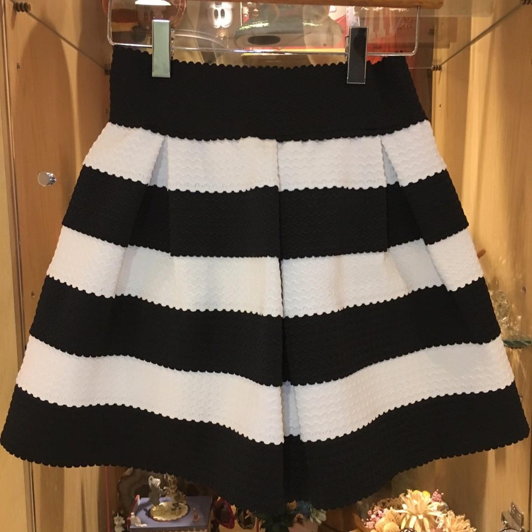 小香風 黑白條紋短裙 蓬裙