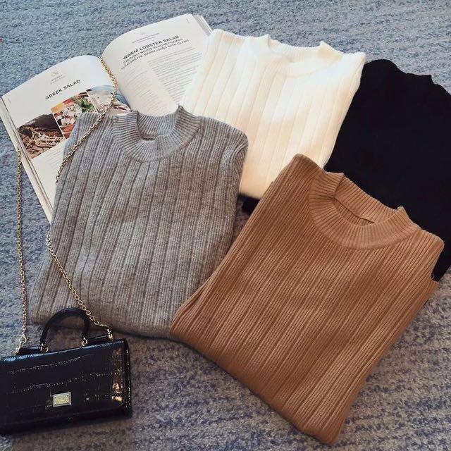 🔥全新🔥坑條針織上衣 駝色 #我的女裝可超取