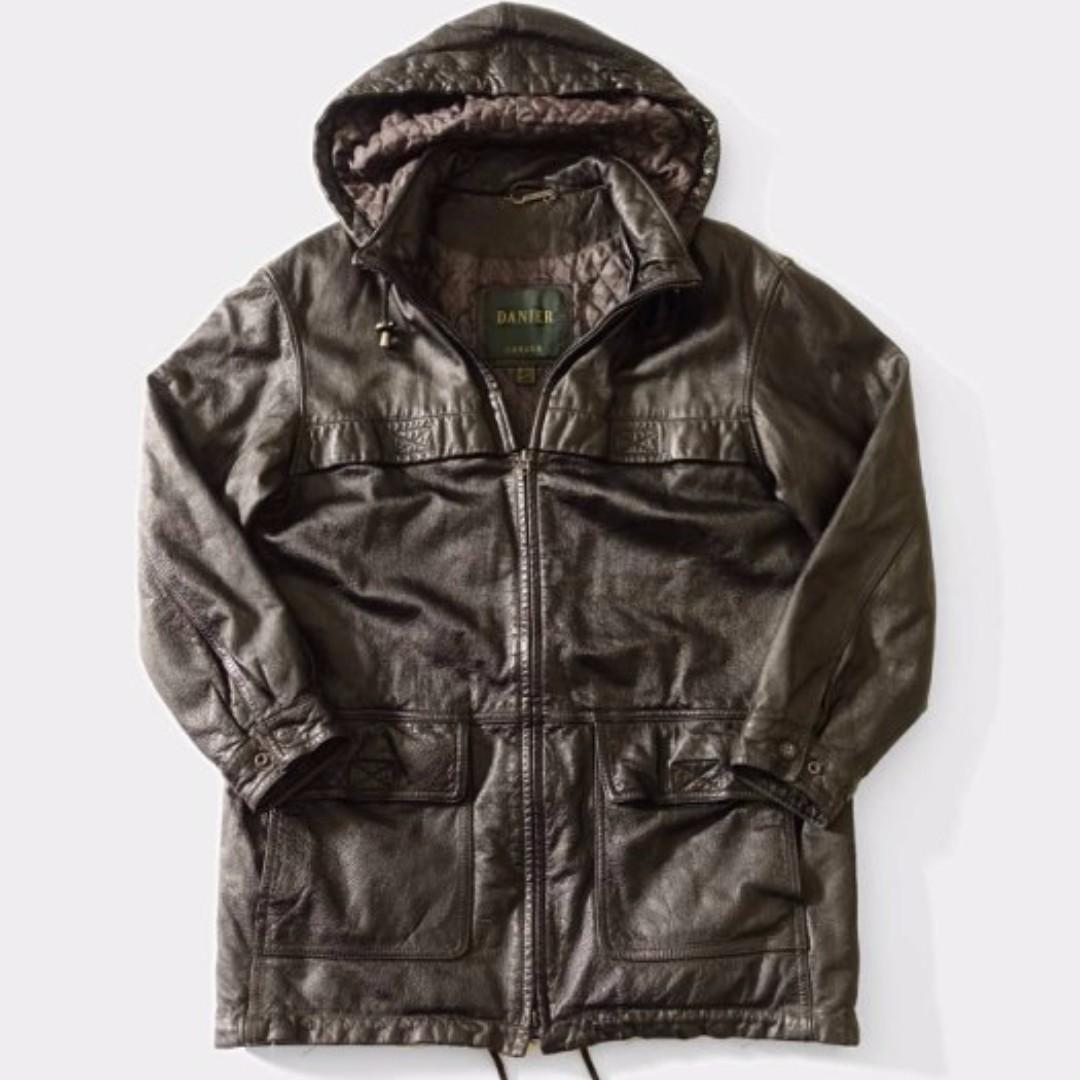 出清 DANIER  牛皮連帽可拆 真皮短大衣外套 黑色  加拿大知名品牌  超帥氣皮衣 必買