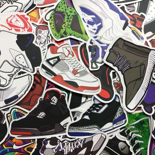 籃球鞋行李箱貼紙 喬丹jordan亮面防水貼紙