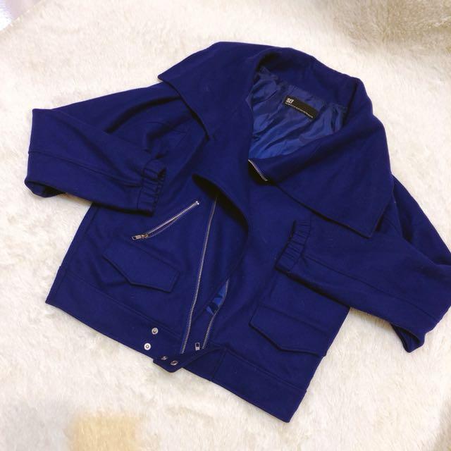 日貨 SLY 心頭好羊毛挺版超顯瘦寶藍色夾克外套