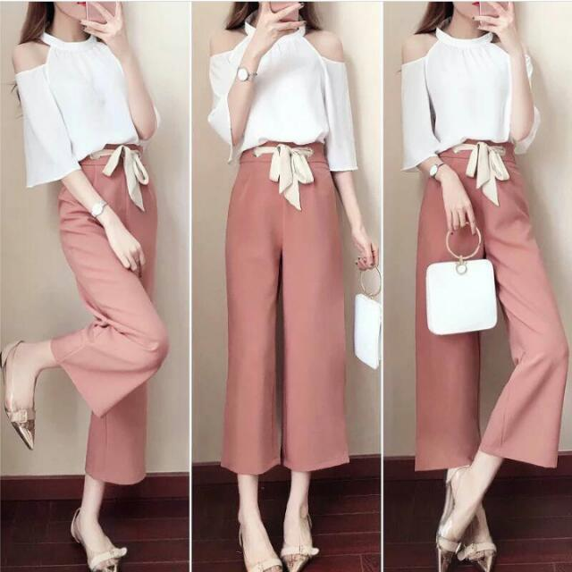 ❤ White Top And Pink Pants Terno