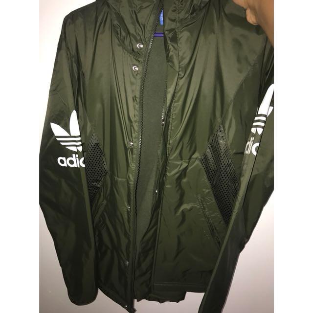 Adidas Jacket — Olive Green Trefoil Logo