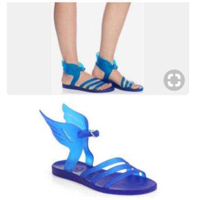 Ancient greek blue sandals
