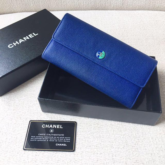 AUTHENTIC CHANEL Blue / Green Bicolour Caviar Wallet / Purse