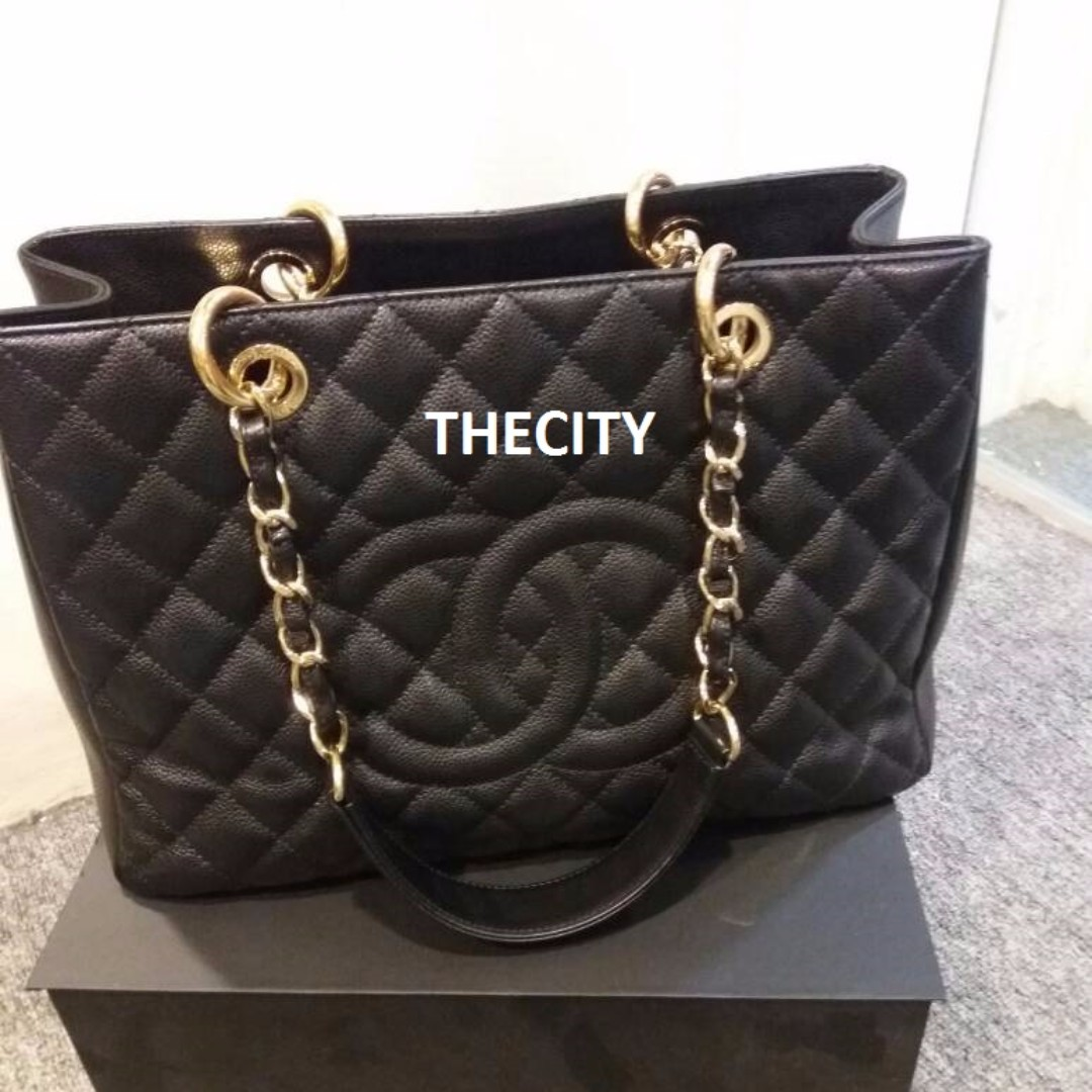 AUTHENTIC CHANEL GST TOTE IN BLACK CAVIAR LEATHER GHW 46b18eef41fd4