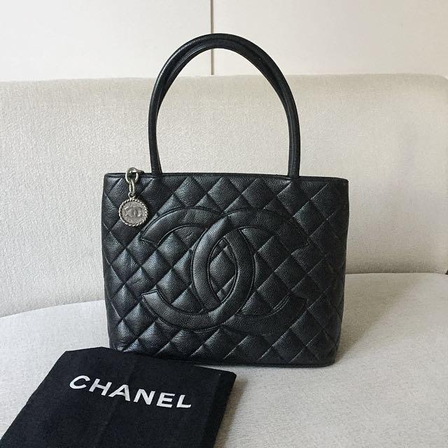 AUTHENTIC CHANEL Medallion Caviar Tote Bag