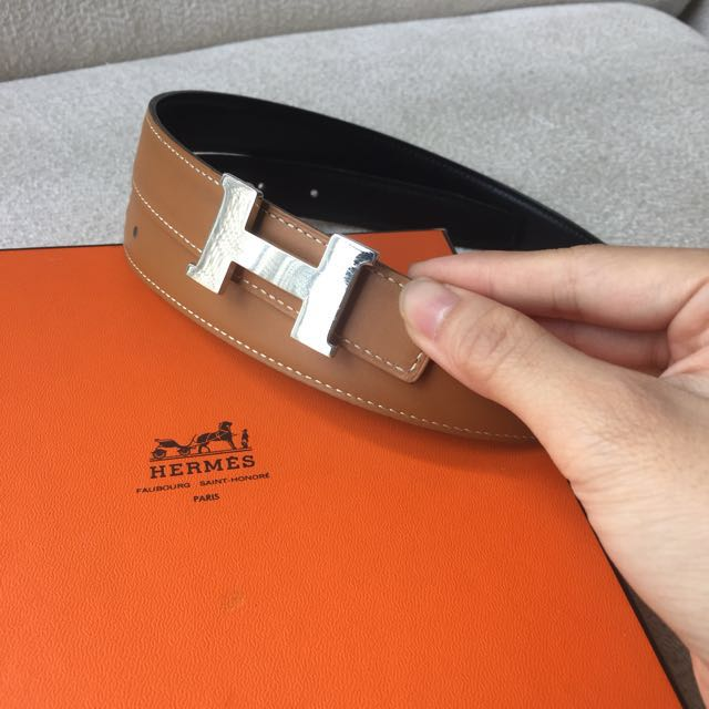 AUTHENTIC HERMES Reversible Belt 24mm with H Buckle Size 80
