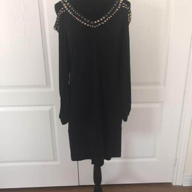 BCBG cut out sleeve black dress