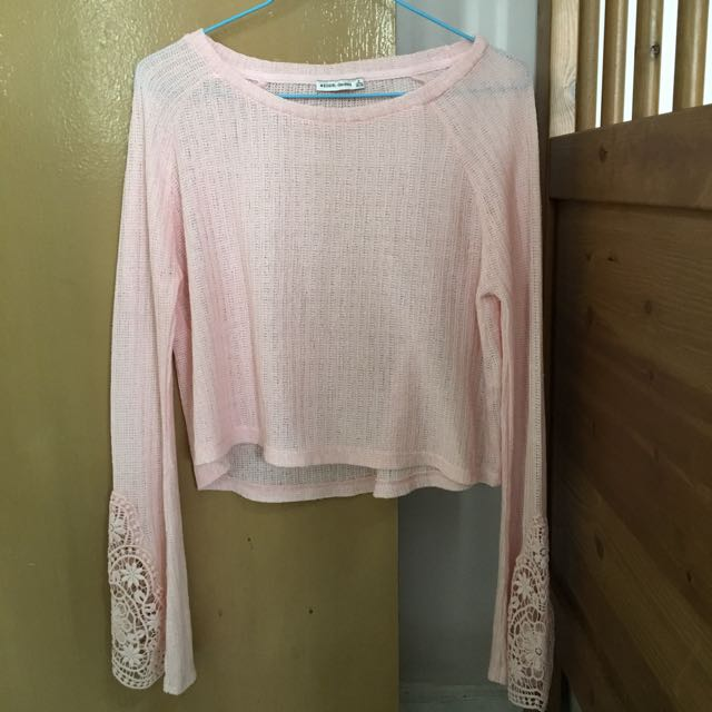 Bershka Pink Laced Pullover