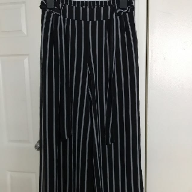Black and white striped long pants