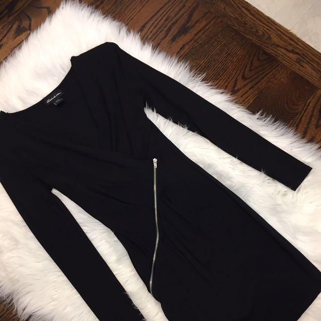 Black Low V Mini Dress