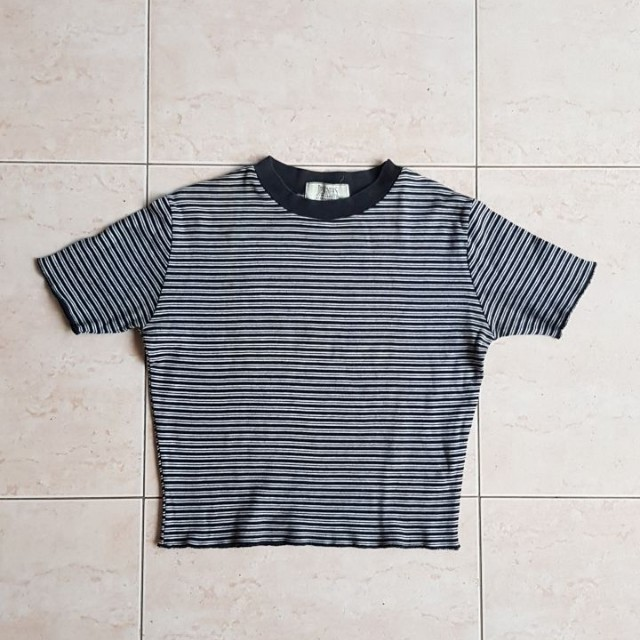 Black Stripe Crop Top from Designer's Choice by Country Fiesta