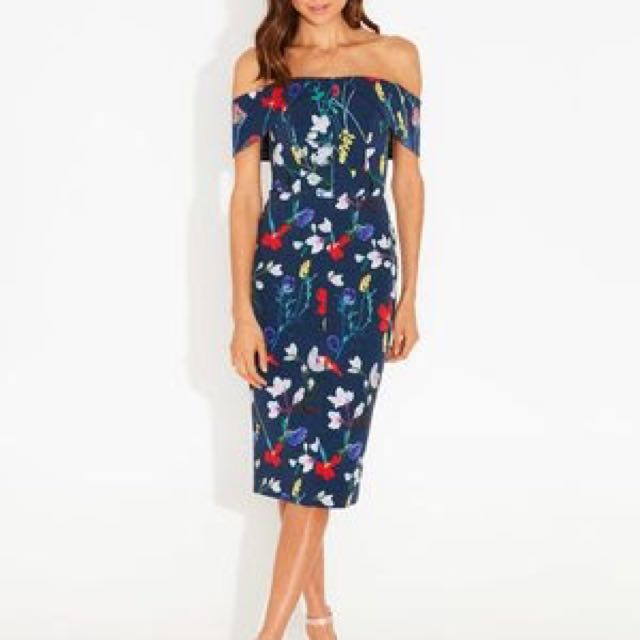 Blue Floral off the shoulder Formal Dress - New with Tags
