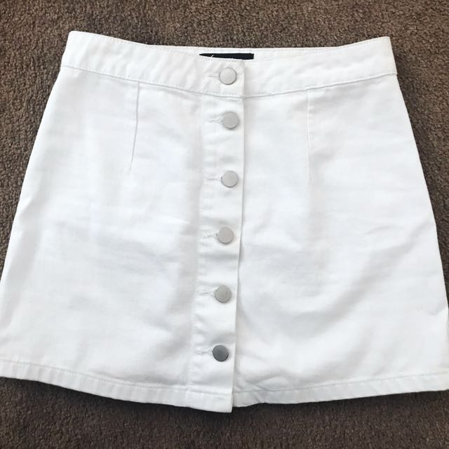 Button-up white denim skirt