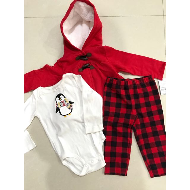CARTERS  3-Piece Plaid Penguin Little Jacket Set (ORIGINAL)