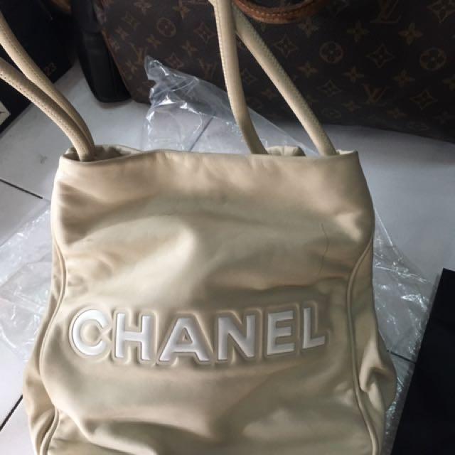 Chanel biege leather bag
