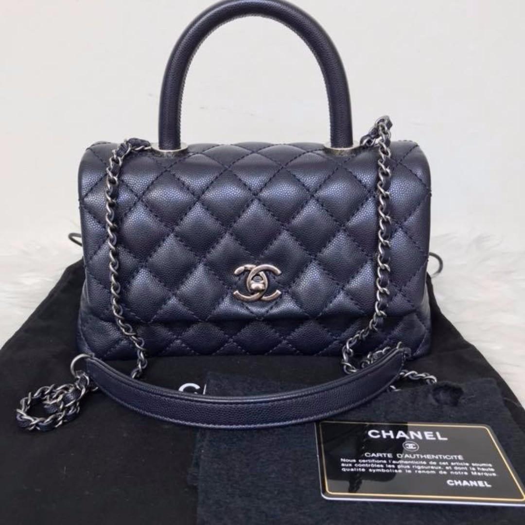 f09860884c4d Chanel coco handle small 24 cm dark blue rhw   21