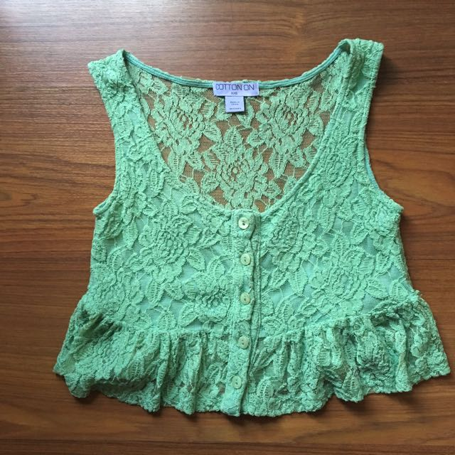 Cotton On green lace crop top