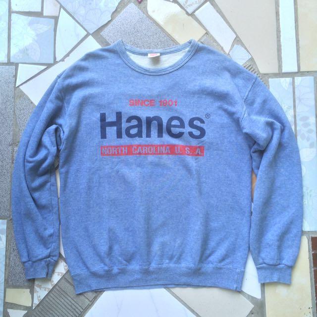 Crewneck Sweater Hanes Logo Print