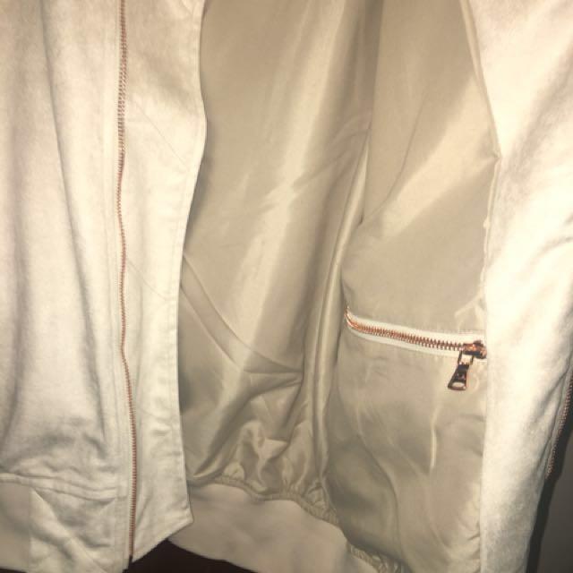 Culture kings beige bomber jacket