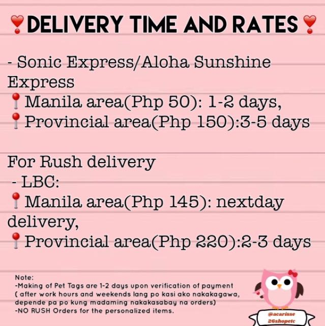 Delivery Time and Rates