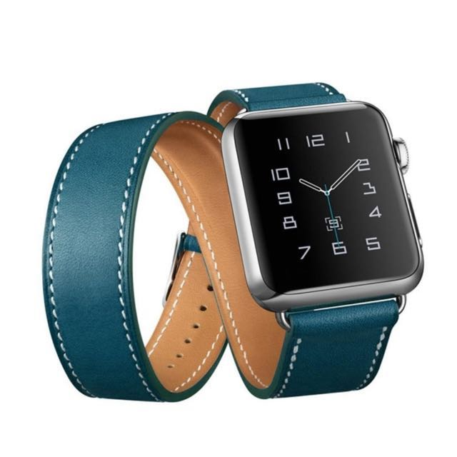 DOUBLE TOUR LEATHER BAND FOR APPLE WATCH SERIES 1/2, 42MM
