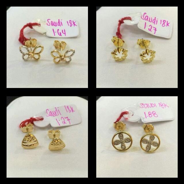 Earrings saudi gold 18k