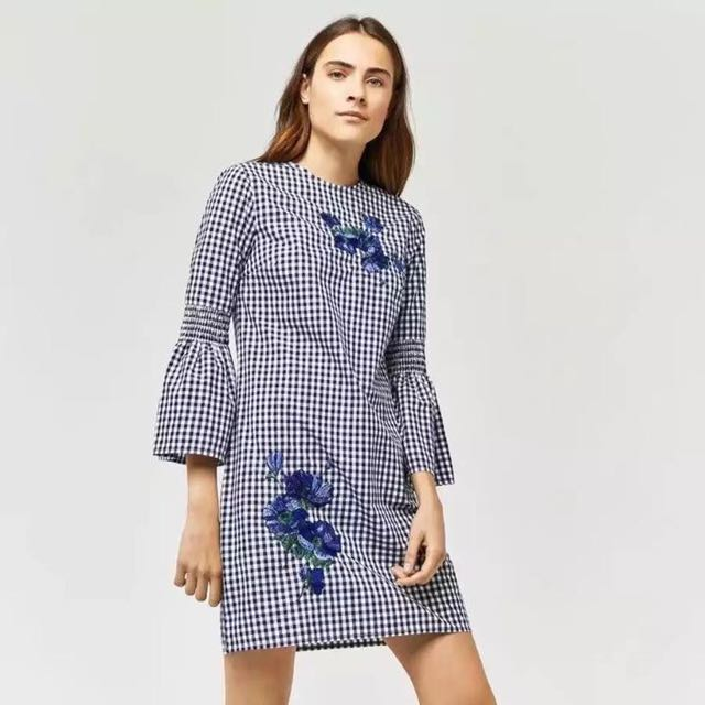 Embroidery Checkered Dress