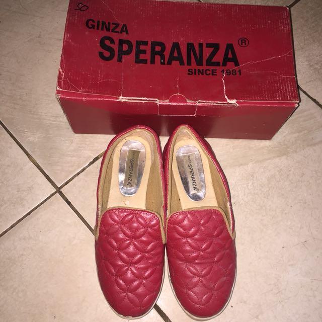 ESPERANZA RED SHOES SLIP ON