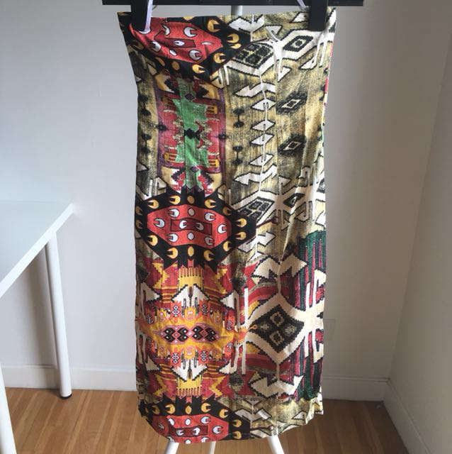Ethnic print tube dress