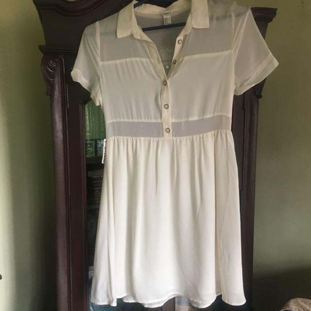 Forever 21 F21 Sheer Cream Button Dress