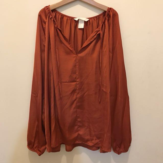 H&M 復古 絲綢緞面 長袖上衣