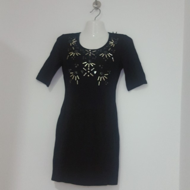 H&M Black bodycon embellished dress
