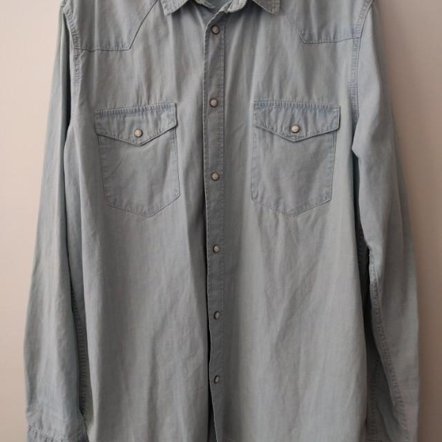 H&M Man Light Blue Denim Shirt