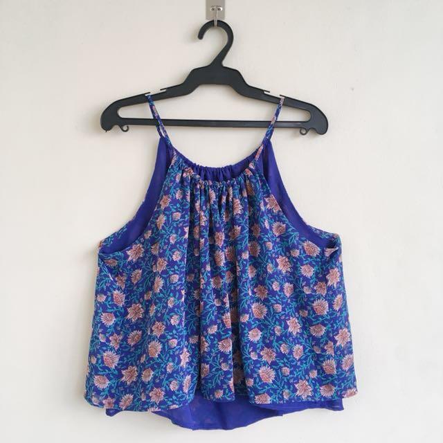 H&M-inspired blue floral halter top