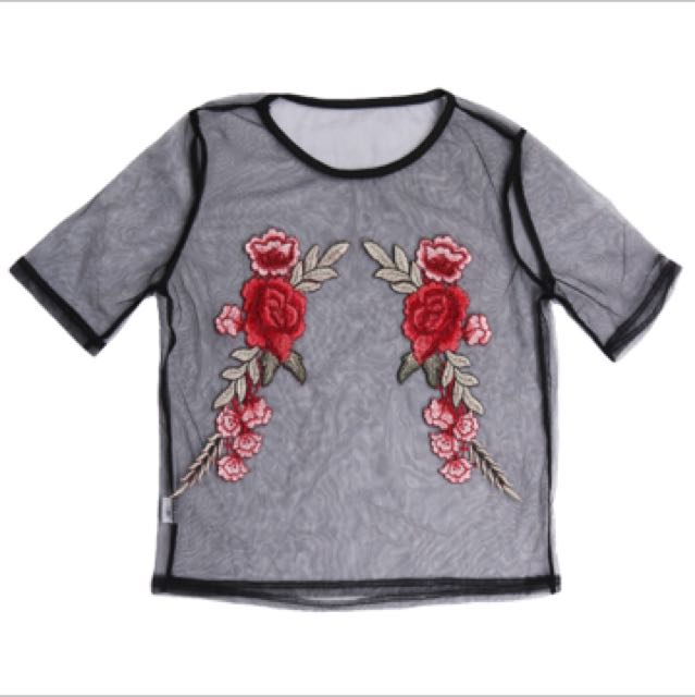 (INC POS)Embroidery Mesh Top