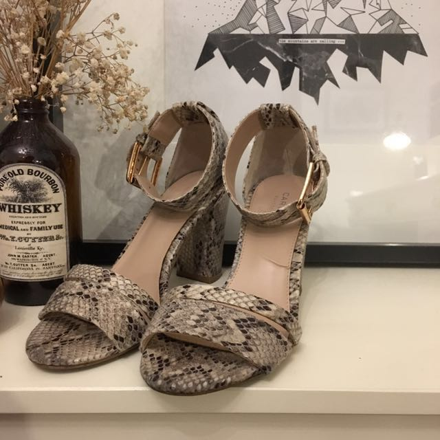 KURT GEIGER Carvela Snakeskin Nude and Gold Heels